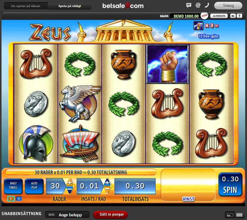 Lyckades få 100 free spins på spelet Zeus hos Betsafe