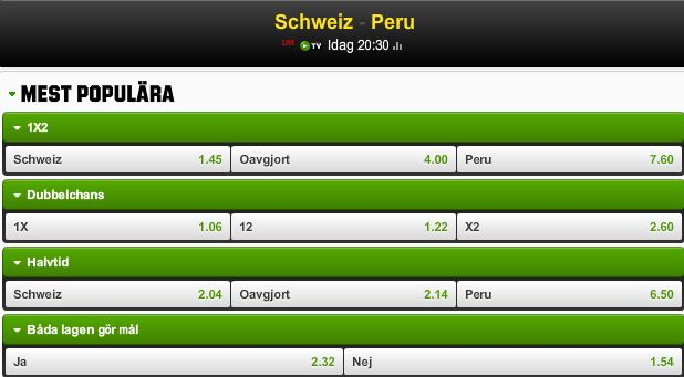 Spela på  Schweiz - Peru