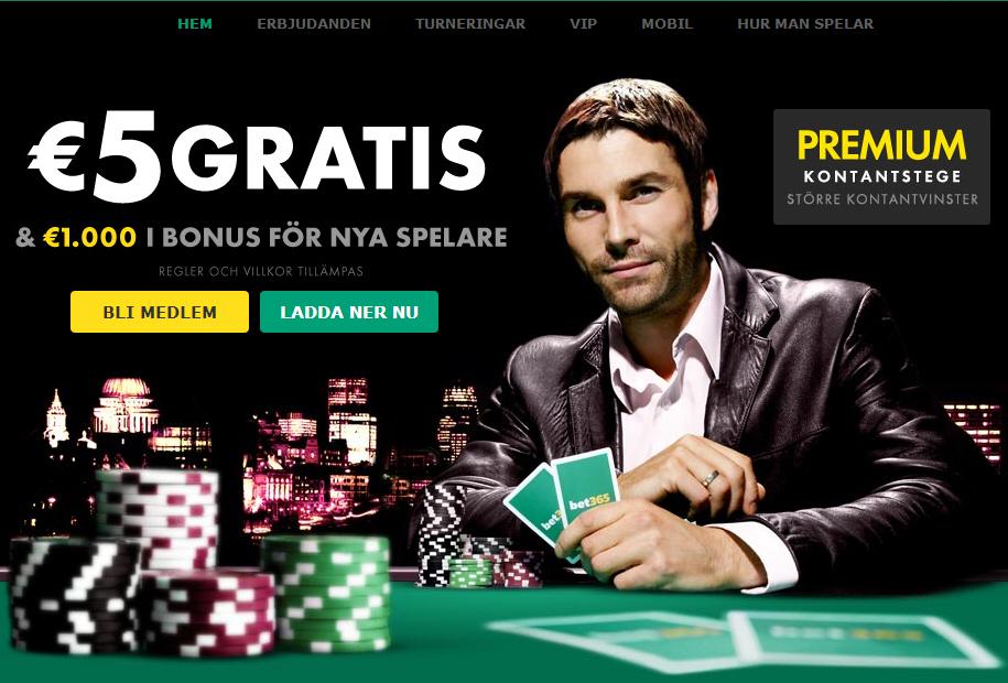 5 euro gratis hos bet365 poker