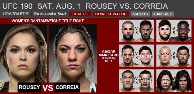 UFC 190 Söndag morgon 2 augusti