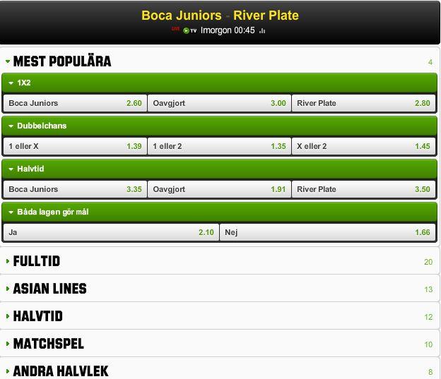 Odds Boca Juniors - River Plate