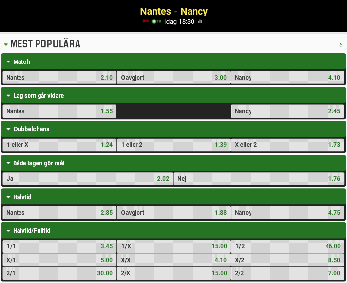 Nantes Nancy odds