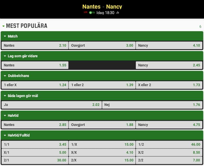 Nantes Nancy odds