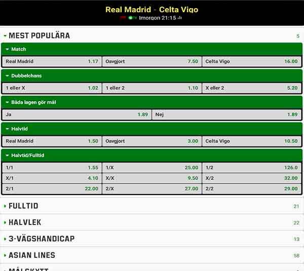 Real Madrid – Celta Vigo Speltips & Live Stream