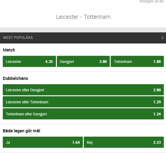 Leicester Tottenham speltips