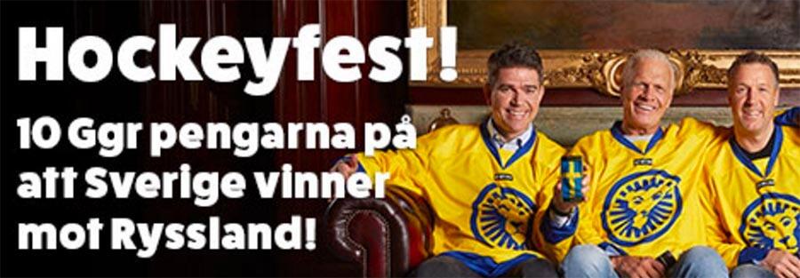 10 gånger pengarna på Sverige - Ryssland i Hockey-VM
