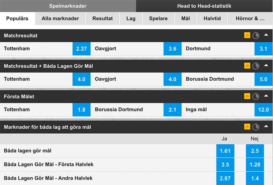 Tottenham - Dortmund Speltips