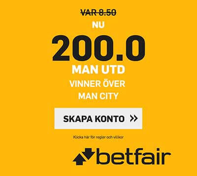 Höga Odds Manchester City – Manchester United 11/11