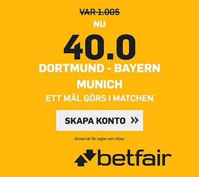 Borussia Dortmund – Bayern München – Högsta oddset 40.0!