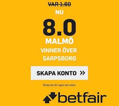 FÖRHÖJT ODDS:  8.0 på att Malmö vinner över Sarpsborg