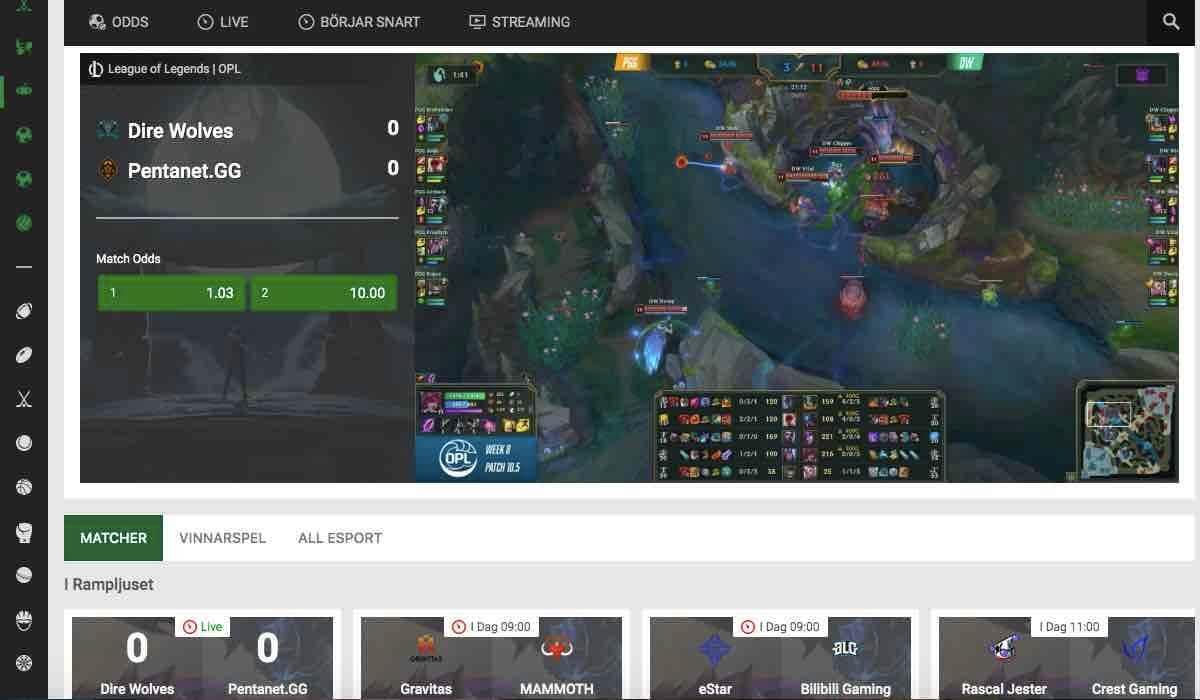 esport live streaming unibet
