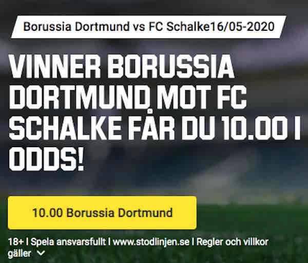 Dortmund – Schalke 16/5 med Boostade Odds Erbjudanden